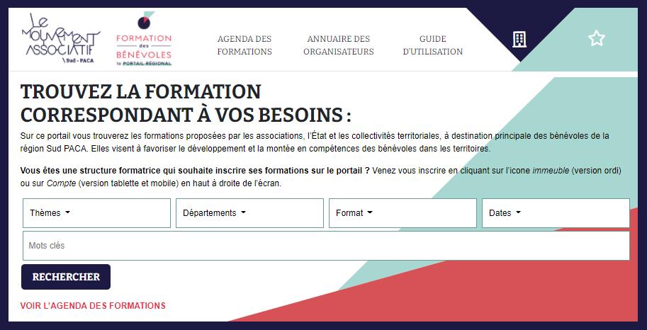 capture d'écran de la page d'accueil du Portail de formation des bénévoles