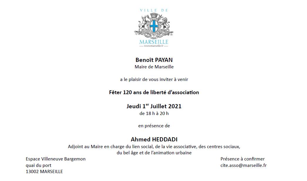 carton d'invitation aux 120ans de la Loi 1901
