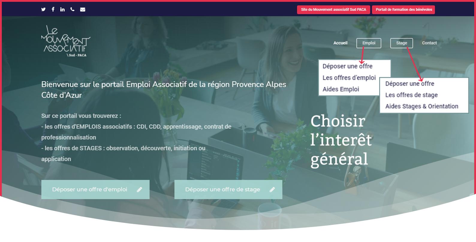 page d'accueil du Portail de l'Emploi associatif